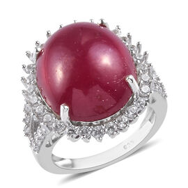 18 Carat AA African Ruby and Zircon Halo Ring in Platinum Plated Sterling Silver
