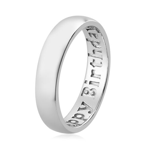 Platinum Overlay Sterling Silver Happy Birthday Engraved Band Ring