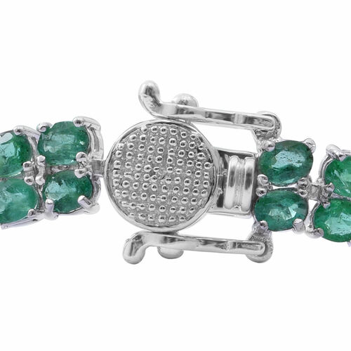 Kagem Zambian Emerald (Ovl) Bracelet (Size 8) in Rhodium Plated Sterling Silver 12.900 Ct. Silver wt 12.20 Gms. Number of Gemstone- 86