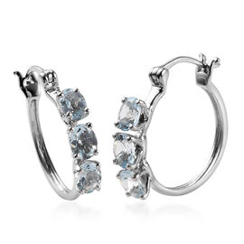 1.90 Ct AA Espirito Santo Aquamarine Hoop Earrings in 9K White Gold