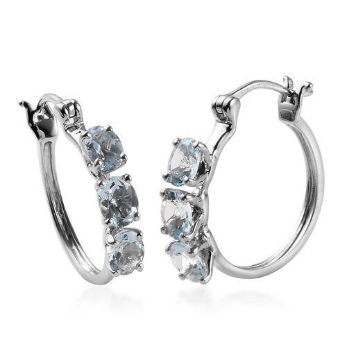1.90 Ct AA Espirito Santo Aquamarine Hoop Earrings in 9K White Gold