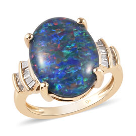 One Time Deal - 9K Yellow Gold AAA Australian Boulder Opal (Ovl 16x12mm), Natural Diamond Ring