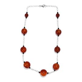 211.50 Ct Amber Colour Agate Beaded Necklace in Rhodium Plated 20 Inch