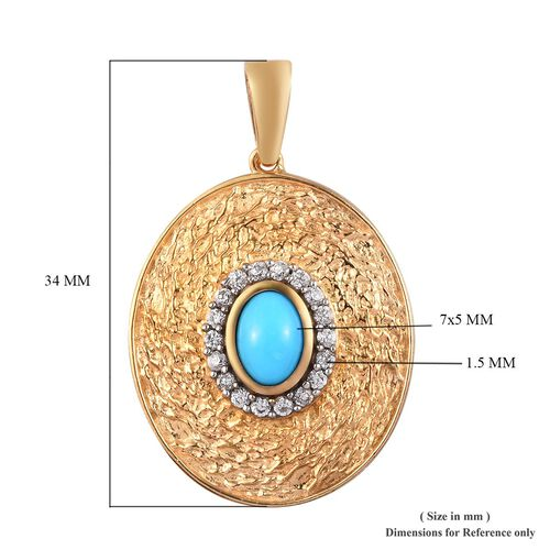 Arizona Sleeping Beauty Turquoise and Natural Cambodian Zircon Pendant in 14K Gold Overlay Sterling Silver 0.94 Ct, Silver wt 5.00 Gms