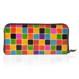 100% Genuine Leather Multi Colour RFID Blocker Mosaic Pattern Ladies Wallet (Size 12x11.5x2 Cm)