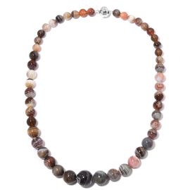 One Time Deal- Botswana Agate (Rnd) Graduated Beads Necklace (Size 20) in Rhodium Overlay Sterling Silver 380.00 Ct