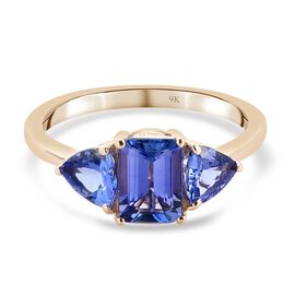 One Time Deal-9K Yellow Gold AAA Tanzanite Trilogy Ring 2.00 Ct.