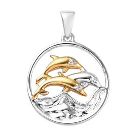 Natural Cambodian Zircon (Rnd) Dolphin Pendant in Platinum and Yellow Gold Overlay Sterling Silver
