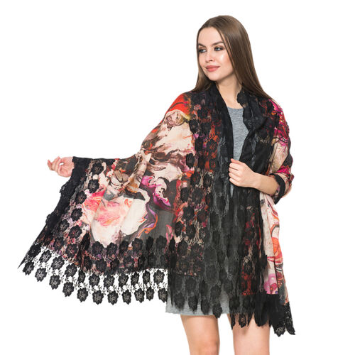 (50% Mulberry Silk and 50% Merino Wool) Multi Colour Floral Pattern Black Colour Scarf with Nylon Fl