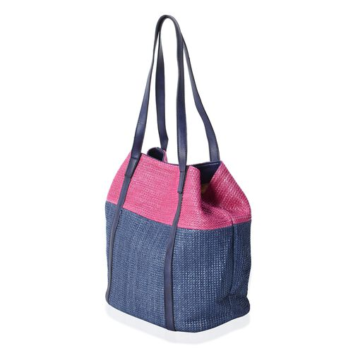 Estella Light Weight Fuchsia and Navy Colour Block Double Style Tote Bag (Size 45x30x29x20 Cm)