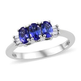 RHAPSODY AAAA Tanzanite (Ovl 0.650 Ct) Diamond (VS/E-F) Trilogy Ring 0.700 Ct.
