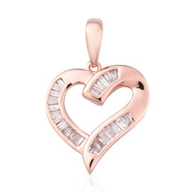 9K Rose Gold SGL Certified Pink Diamond (I3) Heart Pendant 0.33 Ct.