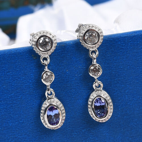 Tanzanite and Natural Cambodian Zircon Dangling Earrings in Platinum Overlay Sterling Silver 1.00 Ct.
