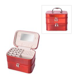 2- Two Layer Jewellery Organizer with Inside Mirror, Top Handle and Zipper Closure - Red