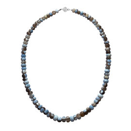 250 Ct Rare Australian Opal Beaded Necklace in Rhodium Plated Sterling Silver 20 Inch
