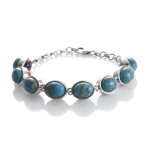 One Time Deal- Mojave Blue Turquoise (Ovl), Mojave Green, Purple and Orange  Turquoise Bracelet (Siz