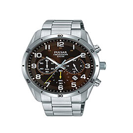 Pulsar Mens Stainless Steel Black Chronograph Watch