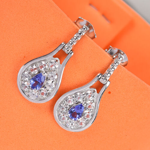 Tanzanite and Natural Cambodian Zircon Dangling Earrings (with Push Back) in Platinum Overlay Sterling Silver 1.75 Ct.