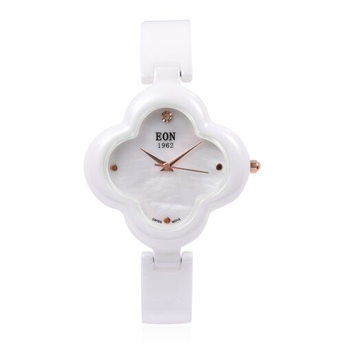 EON 1962 Diamond Swiss Movement Clover White HighTech Ceramic Watch -30 Mts Water Resistance
