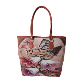 Butterfly and Floral Pattern Jute Tote Bag (Size 42/32x10.5x35cm) - Brown