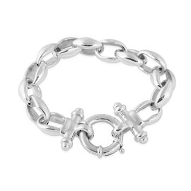 One Time Deal - Rhodium Overlay Sterling Silver Belcher Bracelet (Size 8.25), Silver wt 24.00 Gms.