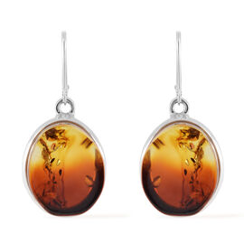 Baltic Amber (Ovl) Lever Back Earrings in Sterling Silver, Silver wt 14.20 Gms