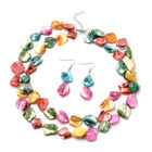 2 Piece Set -  Multi Colour Shell Necklace (Size 20 with 2 inch Extender) and Hook Earrings in Pure