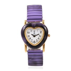 STRADA Japanese Movement Water Resistant Heart Bracelet Watch (Size 6.25 - 6.75 Inch) Colour Purple and Black