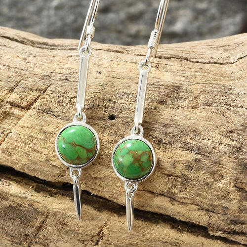 Mojave Green Turquoise (Rnd) Hook Earrings in Sterling Silver 3.750  Ct.