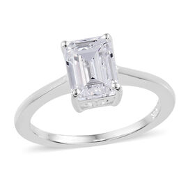 J Francis Sterling Silver (Oct) Solitaire Ring (Size Q) Made with Swarovski Zirconia