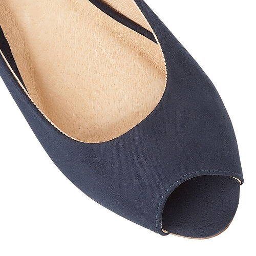 Lotus Microfibre Odina Peep-Toe Wedge Shoes (Size 6) - Navy