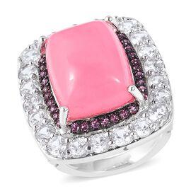 Pink Jade (12.50 Ct),White Zircon,Rhodolite Garnet Sterling Silver Ring  17.245  Ct.