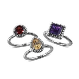3 Piece Set - Citrine, Amethyst and Mozambique Garnet Solitaire Ring in Stainless Steel 3.500 Ct.