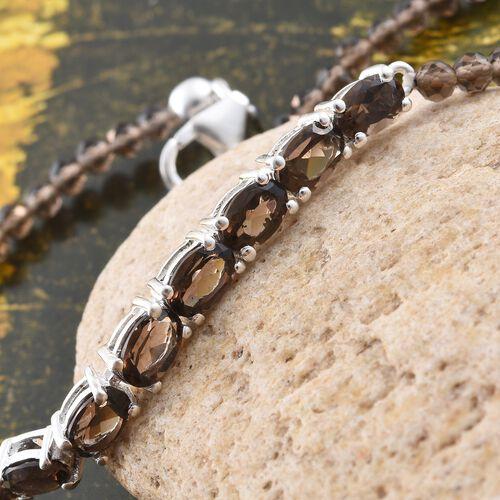 One Time Mega Deal-Brazilian Smoky Quartz (Ovl) Bracelet (Size 7.5) in Sterling Silver 13.880 Ct.