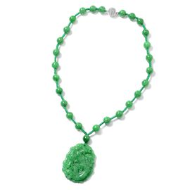 942 Ct Carved Green Jade Beaded Necklace in Rhodium Plated Sterling Silver 18 Inch
