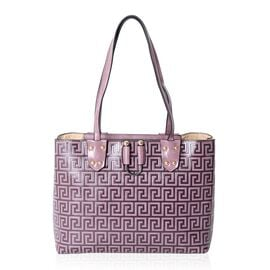 Close Out Deal  Purple Colour Greek Key Embossed Large Tote Bag (Size 35x27.5x13.5 Cm)