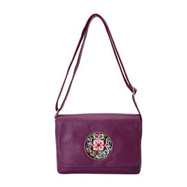 100% Genuine Leather Adjustable Crossbody Bag (25x18x7cm) with Embroidered Flower Pattern - Purple
