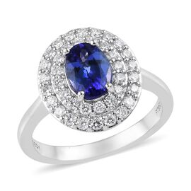 RHAPSODY 1.70 Ct AAAA Tanzanite and Diamond VS EF Double Halo Ring in 950 Platinum 6.34 grams