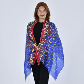 LA MAREY 100% Wool Artistic Oil Pattern Scarf (Size 67x184Cm) - Red and Blue