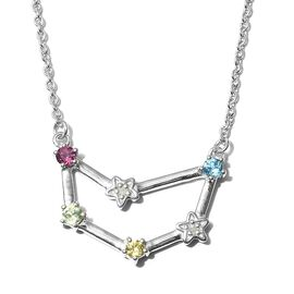 Multi gemstones Fancy Necklace in Platinum Overlay Sterling Silver 0.29 ct  0.290  Ct.