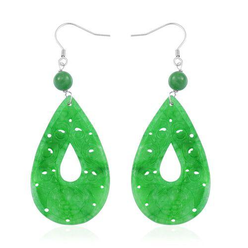 Green Jade Wealth Symbol Teardrop Hook Earrings in Rhodium Plated Sterling Silver 39.000 Ct.