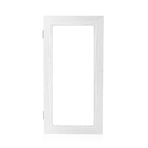 White Wall Mounted Mirror Wooden Cabinetwith Velvet  Inside (Size 60X30X9 Cm)