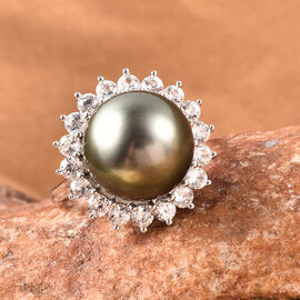Tahitian Pearl and Natural Cambodian Zircon Halo Ring in Rhodium Overlay Sterling Silver