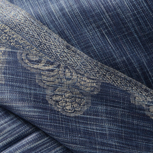 100% Modal Melange Cutwork Blue and Grey Colour Woven Scarf (Size 180x70 Cm)