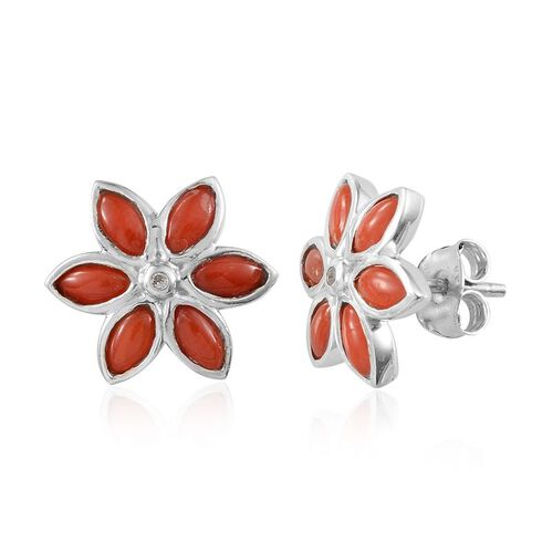 Mediterranean Coral (1.75 Ct),White Topaz Platinum Overlay Sterling Silver Earring  1.800  Ct.
