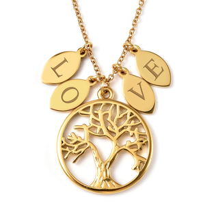 Personalised Tree of Life and Leaves Necklace with 20 Inch Chain in Stainless Steel