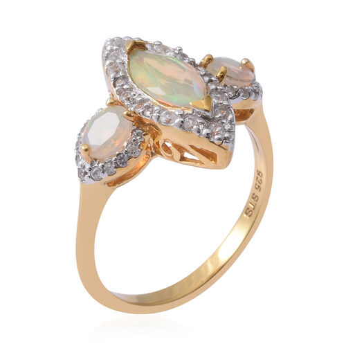 Ethiopian Welo Opal (Mrq and Ovl), Natural Cambodian White Zircon Ring in Rhodium and Yellow Gold Overlay Sterling Silver 1.570 Ct.
