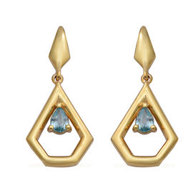 Ratanakiri Blue Zircon Earrings (with Push Back) in Yellow Gold Overlay Sterling Silver 1.26 Ct.