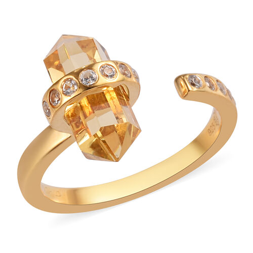 Sundays Child - Citrine and Natural Cambodian Zircon Ring in 14K Gold Overlay Sterling Silver 3.25 C