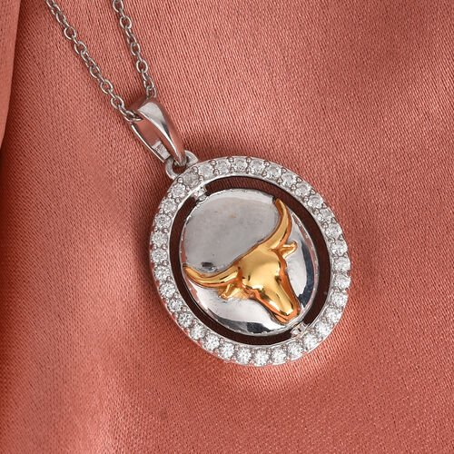 Natural Cambodian Zircon Zodiac-Taurus Pendant with Chain (Size 20) in Yellow Gold and Platinum Overlay Sterling Silver, Silver wt. 6.70 Gms